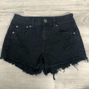 American Eagle Stretch Black Distressed Shorts 2